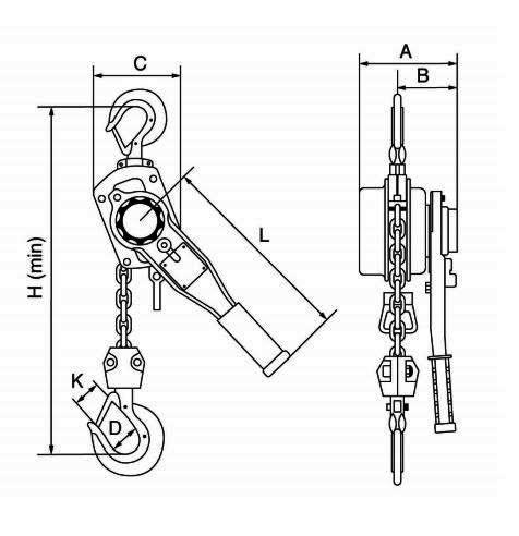 GT Viper lever hoist dimensions