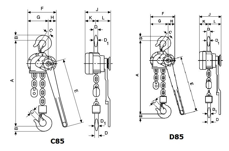 Yale C85 & D85 lever hoist dimensions