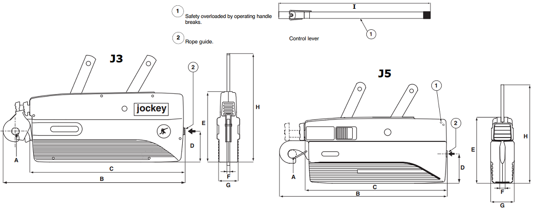 Jockey cable puller dimensions
