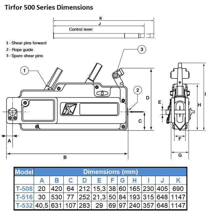500 series dimensions