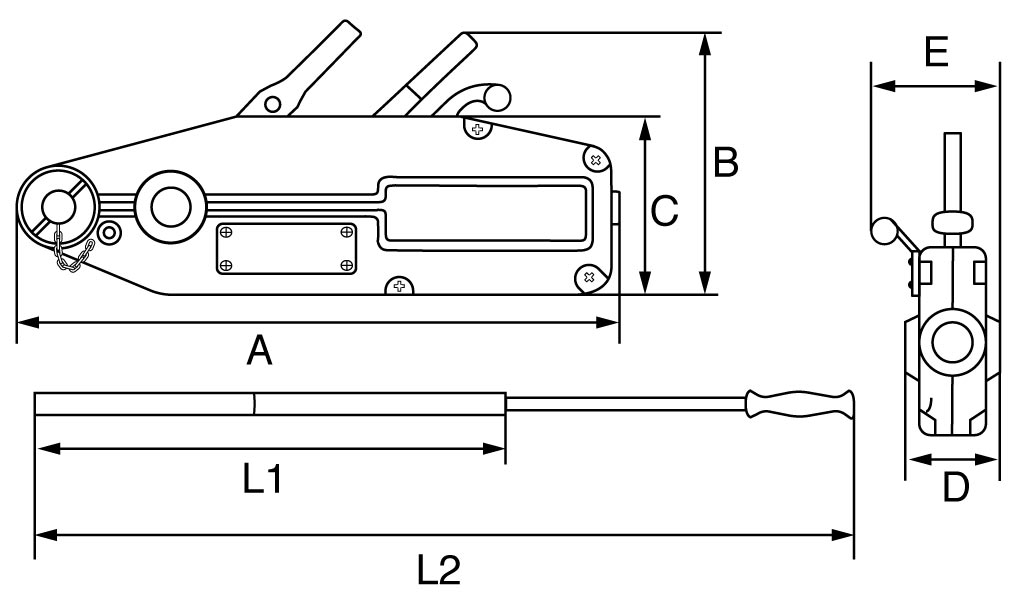 economy cable puller dimensions