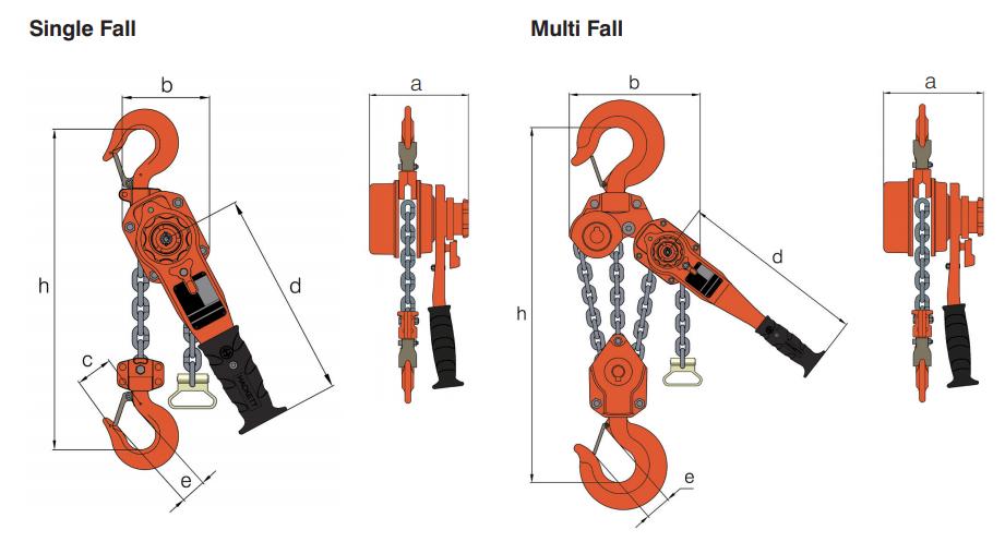 L4 lever hoist dimensions