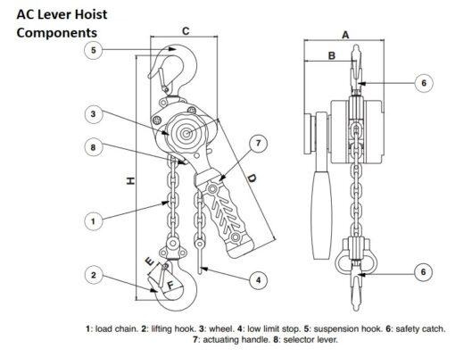 AC lever hoist parts