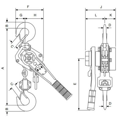 Yale PT ratchet lever hoist dimensions