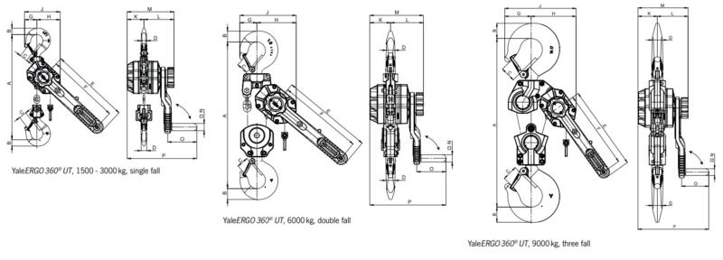 Yale Utility lever hoist dimensions